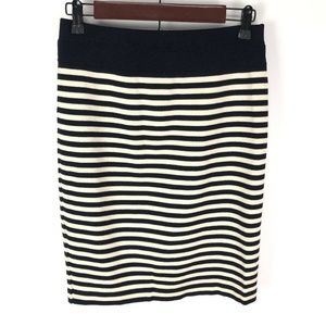 Escada 100% Wool Navy Beige Striped Pencil Skirt